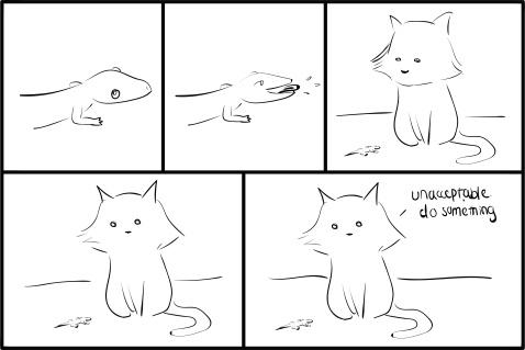 cat vs gecko - nicolesundays