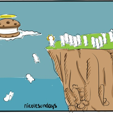 friends jump off a cliff for ice cream sandwich