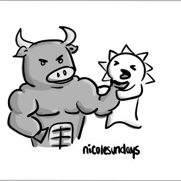 barbecue austin, nicolesundays, choke on food cartoon, muscular cow